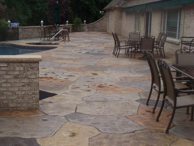 Multi Colored Stamped Concrete Pool Deck. Multi ...