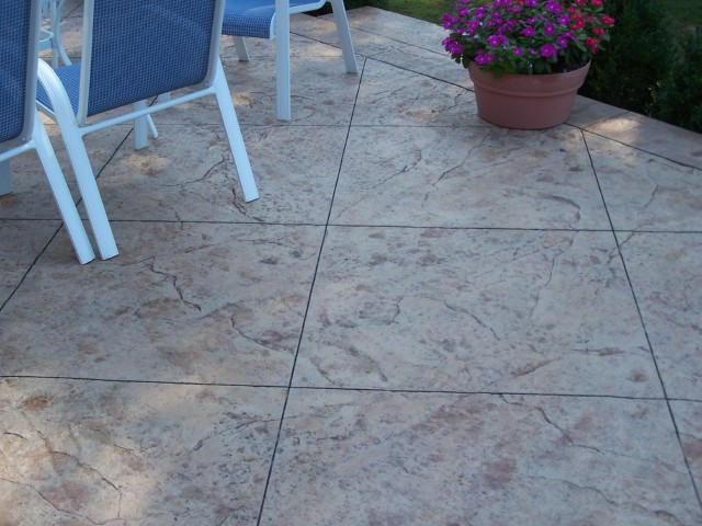 Stamped Concrete Tile Patio